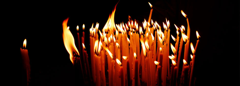 Candles in the Holy Sepulchre on Mount Calvary, Jerusalem